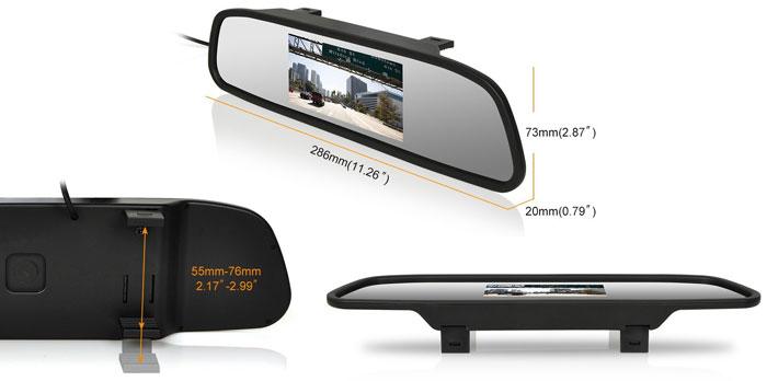 A visszapillantó tükörben található monitor, 4,3 átlóméretű kijelzővel